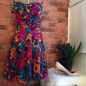 F21 strapless floral party dress